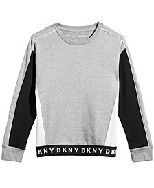 DKNY Big Girls Colorblocked Cotton Fleece Sweatshirt