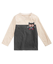 First Impressions Baby Boys Colorblocked Owl Pocket T-Shirt, Created for Macy's