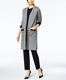 Nine West Colorblocked Patch-Pocket Sweater Topper Jacket