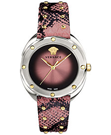 Versace Women's Swiss Shadov Dust Pink Elaphe Leather Strap Watch 38mm