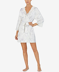Lauren Ralph Lauren Printed Lace-Trim Wrap Robe