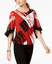 Alfani Petite Printed Flutter-Sleeve Bubble Top, Created for Macy's