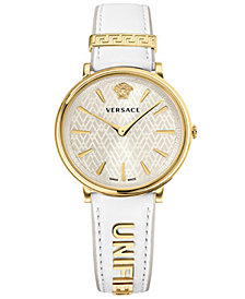 Versace Women's Swiss V-Circle Manifesto Edition White Leather Strap Watch 38mm