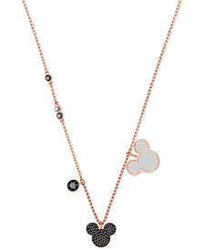 "Swarovski Rose Gold-Tone Crystal & Stone Mickey Mouse 16-1/2"" Pendant Necklace"