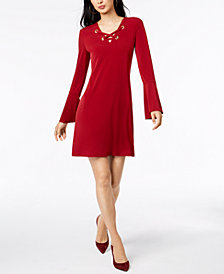 MICHAEL Michael Kors Grommet Laced-Neck Dress in Regular & Petite Sizes