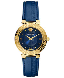 Versace Women's Swiss Daphnis Blue Leather Strap Watch 35mm