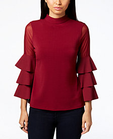 Thalia Sodi Illusion-Sleeve Top, Created for Macy's