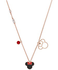 """Rose Gold-Tone Crystal Minnie Mouse 16-1/2"""" Pendant Necklace"""