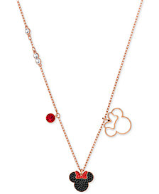 "Swarovski Rose Gold-Tone Crystal Minnie Mouse 16-1/2"" Pendant Necklace"