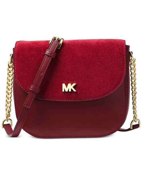 51736e8fe3a716 Michael Kors Half Dome Suede-Trim Leather Crossbody & Reviews ...