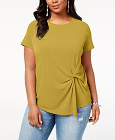 I.N.C. Plus Size Twisted Asymmetrical Top, Created for Macy's