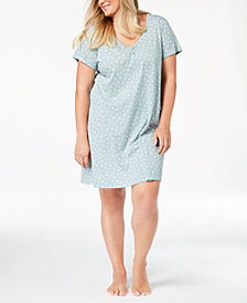 Charter Club Plus Size Printed Sleepshirt, Created for Macy's