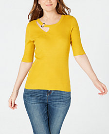 I.N.C. Petite Cutout Hardware Sweater, Created for Macy's
