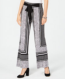 I.N.C. Printed Wide-Leg Soft Pants, Created for Macy's