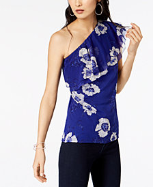 I.N.C. Floral-Print One-Shoulder Top, Created for Macy's
