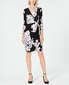 I.N.C. Floral-Print Faux Wrap Dress, Created for Macy's