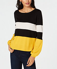 I.N.C. Petite Striped Puff Sleeve Sweater, Created for Macy's
