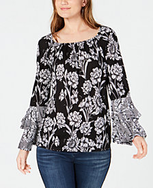 I.N.C. Floral-Print Tiered-Ruffle Peasant Top, Created for Macy's