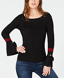 I.N.C. Varsity-Stripe Bell-Sleeve Sweater, Created for Macy's