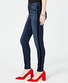 I.N.C. Petite Velvet Racing Stripe Jeans, Created for Macy's