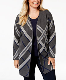Charter Club Plus Size Cotton Plaid Long Cardigan Sweater, Created for Macy's
