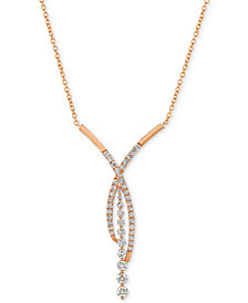 "Le Vian® Diamond Fancy 18"" Statement Necklace (1-5/8 ct. t.w.) in 14k Rose Gold"