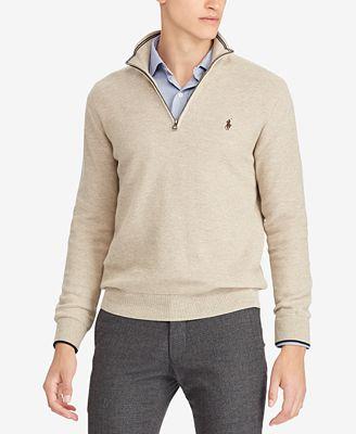 Polo Ralph Lauren Mens Textured Half Zip Sweater Sweaters Men