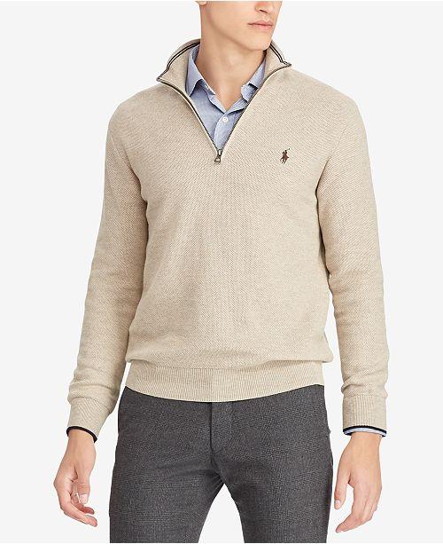7305d4ae51b Polo Ralph Lauren Men s Textured Half-Zip Sweater   Reviews ...
