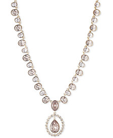 "Givenchy Crystal & Stone Pendant Necklace, 16"" + 3"" extender"