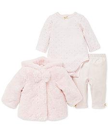 Little Me Baby Girls 3-Pc. Faux-Fur Jacket, Printed Bodysuit & Pants Set