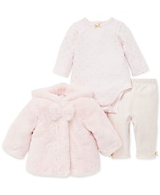 Little Me Baby Girls 3-Pc. Faux-Fur Jacket, Printed Bodysuit & Pants Set
