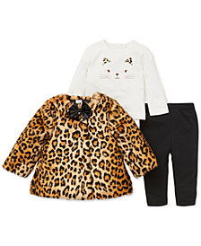 Little Me Baby Girls 3-Pc. Faux-Fur Jacket, Top & Leggings Set