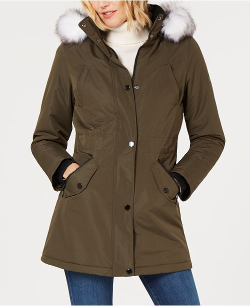 garniture en a Hfx fausse Halifax Olive manteaux capuchon fourrure et Femme Parka avec Oym80vNnw