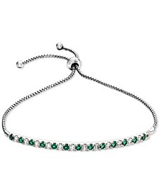 Lab-Created Emerald (5/8 ct. t.w.) & White Sapphire (5/8 ct. t.w.) Bolo Bracelet in Sterling Silver (Also available in Lab-Created Ruby, Pink Sapphire and White Sapphire)