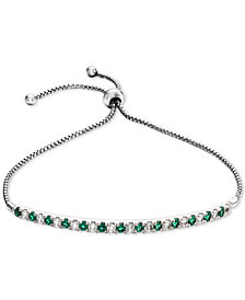 Lab-Created Emerald (5/8 ct. t.w.) & White Sapphire (5/8 ct. t.w.) Bolo Bracelet in Sterling Silver