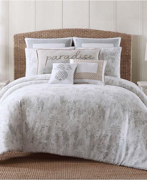 Oceanfront Resort Tropical Plantation Embroidered Full/Queen Comforter Set