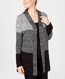 Karen Scott Petite Colorblocked Cardigan, Created for Macy's