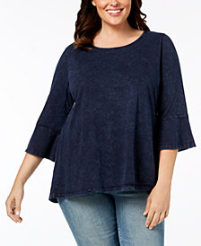 Style & Co Plus Size Cotton Acid-Wash Lantern-Sleeve Top, Created for Macy's