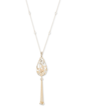 """Carolee GOLD-TONE CRYSTAL & FRESHWATER PEARL (4-10MM) CAGED TASSEL 36"""" PENDANT NECKLACE"""