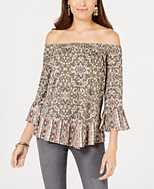 Style & Co. Petite Printed Off-The-Shoulder Top, Created for Macy's