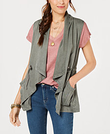 Style & Co Draped Open-Front Vest, Created for Macy's