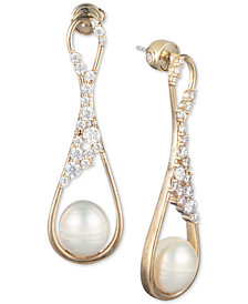 Carolee Gold-Tone Crystal & Freshwater Pearl (9mm) Drop Earrings