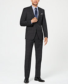 Tallia Men's Slim-Fit Stretch Black Plaid Wool Suit