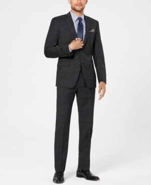Tallia Men's Slim-Fit Stretch Black Plaid Wool Suit