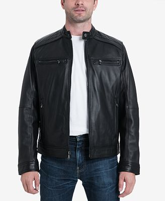 MICHAEL Michael Kors Men's Perforated Leather Moto Jacket, Created for Macy's