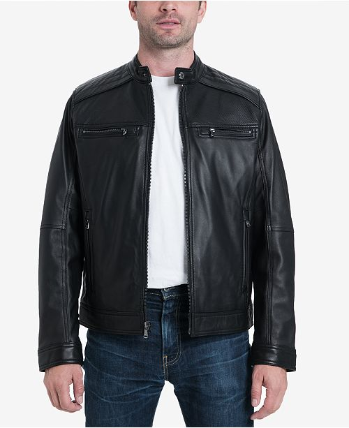64eadfc1 Michael Kors Michael Kors Men's Big & Tall Perforated Moto Leather Jacket,  ...