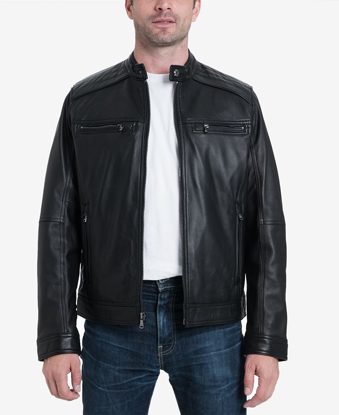 Michael Kors - Men's Perforated Leather Moto Jacket