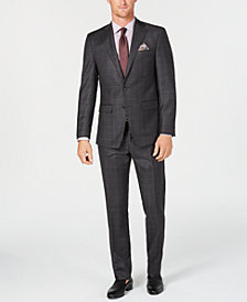 Tallia Men's Slim-Fit Stretch Charcoal/Burgundy Windowpane Wool Suit