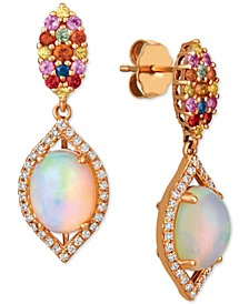 Opal (1-5/8 ct. t.w.), Multi-Sapphire (1/2 ct. t.w.) and Diamond (1/4 ct. t.w.) Drop Earrings in 14k Rose Gold
