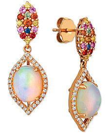 Le Vian® Opal (1-5/8 ct. t.w.), Multi-Sapphire (1/2 ct. t.w.) and Diamond (1/4 ct. t.w.) Drop Earrings in 14k Rose Gold